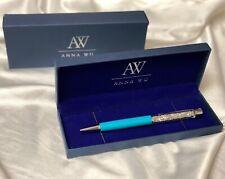 Fashion SWAROVSKI Element Crystal Pen with Anna Wu Gift Case LIGHT BLUE