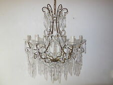 ~c 1920 French Rare Cut Crystal Prisms with Center Spear Chandelier~