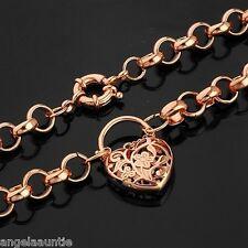18K Rose Gold Filled Filigree Heart Belcher Necklace (N-184)