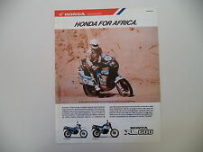 advertising Pubblicità 1987 MOTO HONDA XL 600 e EDI ORIOLI - PARIS DAKAR