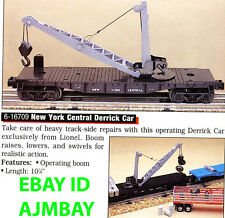 LIONEL16709 NYC DERRICK CAR 16661, 16907 & 16968 FLAT CARS w/ LOADS NEW IN BOXES