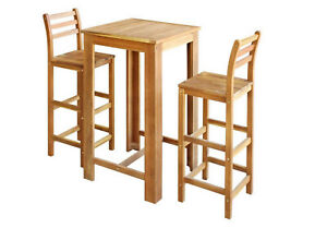 Breakfast Bar Set Table Stool Wooden Stools Wood Chairs Pub Kitchen 3-piece