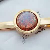 High Quality Vintage Milky Pink Fire Opal Glass - Gold tone TIE PIN CLIP BAR