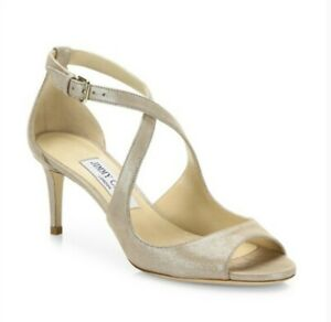JIMMY CHOO beige shimmering suede 39.5 9.5 Emily65 open-toe shoes new $750