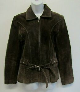 IN TOWN WOMENS BROWN REAL SUEDE JACKET COAT SIZE 12