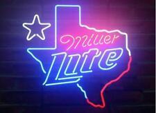 "New Miller Lite Texas Star Neon Light Sign 20""x16"" Beer Bar Artwork Real Glass"