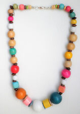 Natural and coloured wooden bead necklace with silver tone clasp Approx. 57cm