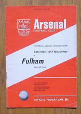 Vintage 1966 Arsenal vs Fulham FC Soccer Football Program, England Great Britain