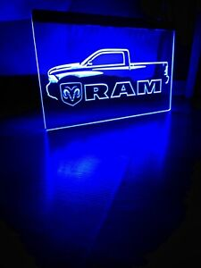 DODGE RAM TRUCK LED NEON BLUE LIGHT SIGN 8x12