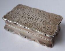 Vintage silver hallmarked SNUFF BOX Victorian style 54.5 g 52mm wide B'ham 1968