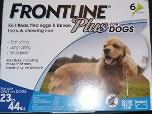 New Merial Frontline Plus For Medium Dogs 23-44 lbs 6 Vials 6 Months Flea Tick