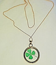 Real 4 Leaf Green Clover Gold Necklace Love Good Luck of the Irish Hand Made US