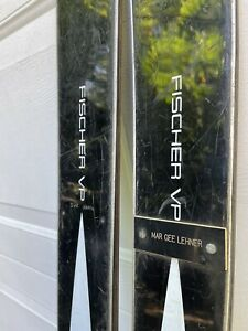 Vintage Fischer VP metal skis Black 185cm Salomon 101 bindings display decor