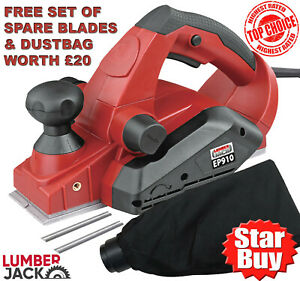 Lumberjack 82mm Electric Planer with Parallel Fence Dust Bag & Spare Blades 240V