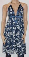 Caroline Morgan Brand Blue White Floral Halter Dress Size L BNWT [sh74]