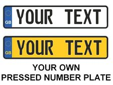Custom ENGLISH UK GB EURO license plate YELLOW WHITE Customized OWN PERSONALIZE
