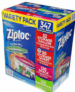 Ziploc Freezer Food Bags Variety Pack 347 Bags Zip Seal
