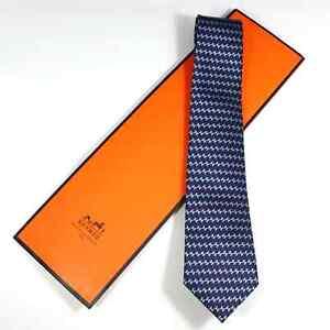 Hermes Paris men's tie Blue & White with figures/Silk