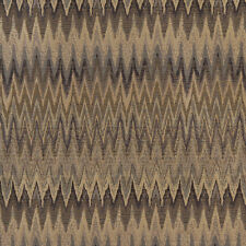 C481 Blue, Beige and Gold, Woven Flame Stitch Upholstery Fabric By The Yard