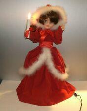 """VTG1987 Display Arts Christmas Motionette Doll Red Velvet Feather Trim Light 24"""""""