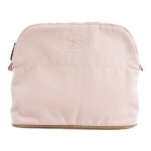 Authentic HERMES Bolide Pouch GM canvas Pink Used
