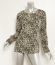 DEREK LAM Green Black Animal Leopard Print Silk Raglan Long Sleeve Blouse 6 NEW