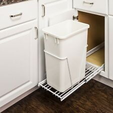 Single-White 35 Quart- Pull-Out - Trash/ Waste Container System w/ 1- White Can