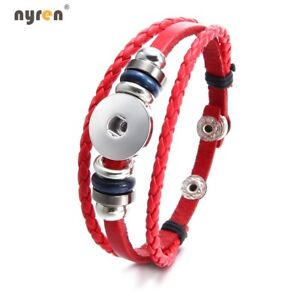 Genuine Leather charms Bracelet 18mm snap button Jewelry For snaps Jewelry