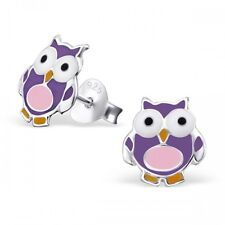 Childrens Girls Sterling Silver Purple & Pink Owl Stud Earrings - Boxed
