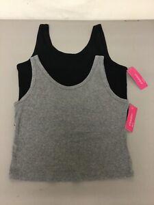NWT 2 Jrs. Xhilaration Crop Tank Top Pajama Sleep Shirt Size M Grey/Black #1336L