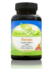 Absorb Health Bacopa Monniera-100 Capsules of 375mg Includes FREE SHIPPING