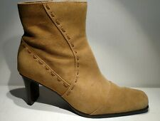 FITZWELL Sz8m tan brown leather sued 3inch heel extra padding Bootie sidezipper