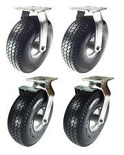 """10"""" x 3-1/2"""" Pneumatic Wheel Caster(Foam-Flat Free) 2 Rigids & 2 Swivels w/Brake"""
