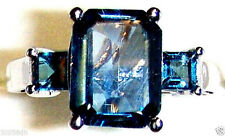 LONDON BLUE TOPAZ OCTAGON SOLITAIRE & SQUARE RING, SILVER, 925 SIZE 5, 3.12(TCW)