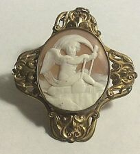 Antique Victorian Gold Filled Large Carved Shell Putti Rowing Cameo Pendant  Pin