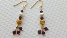 FRESHWATER CULTURED PEARLS,GARNET AND GOLD PLATED STERLING SILVER EARRINGS.