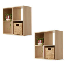 2 x 4 Cube Unit Oak Look Wooden Bookshelf Rack Storage Shelving Shelf Bookcase