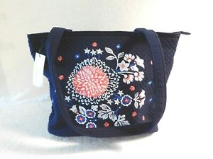 VERA BRADLEY ICONIC SMALL VERA TOTE BAG CLASSIC NAVY EMBROIDERED FLORAL NWT