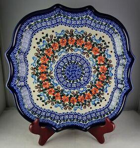 Unikat Polish Art Pottery Multicolored Floral Holiday 2006 Scalloped Tray