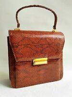 Vintage Tasche Schlangenleder braun Damentasche