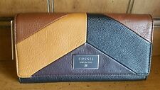 Fossil Dawson Flap Large Trifold Leather Neutral Multi Checkbook Clutch Wallet
