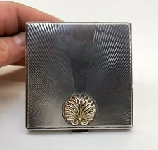 Art Deco Compact Case Sterling Silver Gold Mirror Swan Down Puff Old Vtg