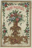 Small & Colorful 19th Century Rose Hair Oil Label - Victorian Cologne Scent