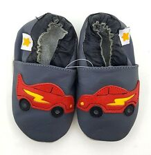 MINISTAR Gray/Red Racecar Leather Baby Infant Soft Sole Pre-Walker Shoes - NEW