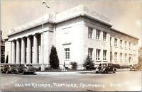 MATINEZ CALIFORNIA RPPC c.1940 Hall of Records Old Cars Real Photo Postcard JN