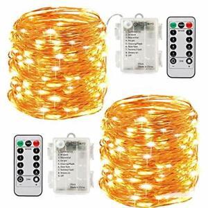 2 x10m Guirlande LED Lumineuse à Pile 100 LEDs Fonction Minuterie avec Télécomma