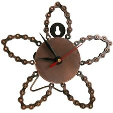 Flower Shaped Clock Handmade From Recycled Bike Chain