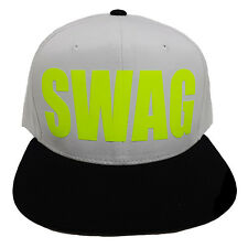 SWAG WHITE/BLACK (FLOCK IN LIME) Snapback Cap