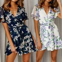 Fashion Womens Holiday Summer Floral Print Short Sleeve Party Short Mini Dress