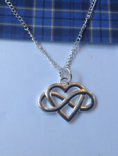 Romantic Celtic Infinity Knot and Heart Necklace on 925 Silver Chain